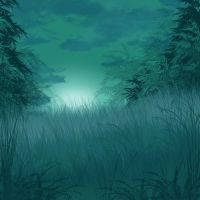 Bamboo Forest at Night by Clu-art