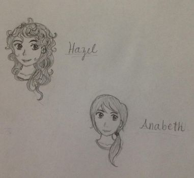 Hazel and Annabeth from Heroes of Olympus Sketches by ramenlovervi