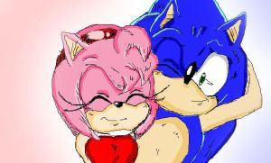 Sonic and Amy by PheonHeart-San