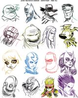 Daily Sketch - 932012 - Page Of Heads by EryckWebbGraphics