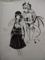 Inktober Day 30 - A girl and her succubus friend by DarkPain-AKH