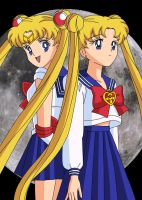 Sailor Moon and Usagi by BrokenSilhouette77