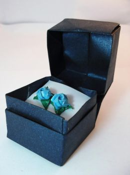 Mystery Blue Rose Earrings by PeryB