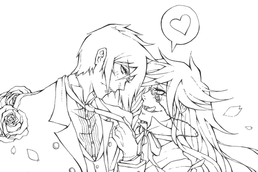 Sebastian and Grell - Lineart by Gem-n-Ems