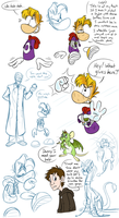 Rayman and the Dragon doodle page unreleased by EarthGwee