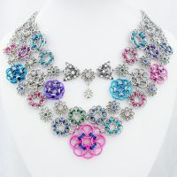 Helm Flower Cluster Chain Mail Statement Necklace by Gone-Wishing