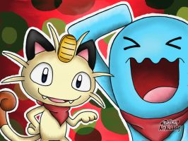 Meowth and Wobbuffet by 29steph5