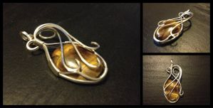 Tigereye Wire Wrapped Pendant by BlockheadGaming