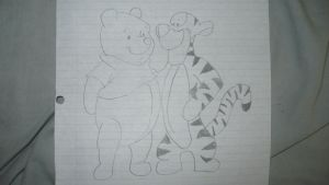 Drawing of Winnie the Pooh and TIgger the Tiger by JanetAteHer