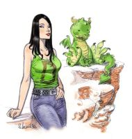 Dragana and baby dragon by Aldagon
