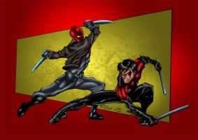 Red Hood vs Nightwing by MarcBourcier