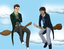 Boys and their Broomsticks by GeoCaecias