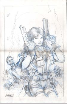 Hotgirl,guns and company,pencils by antgarcia