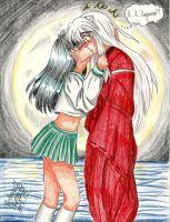 Inu Yasha and Kagome kiss by ArtimasStudio