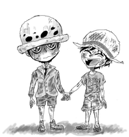 Law and Luffy by mokak123