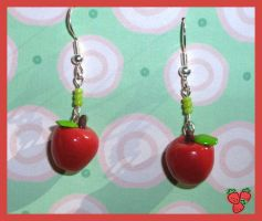 FIMO Red Apple Earrings by merylu