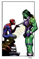 SHE-HULK VS. SPIDEY by Dwid