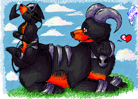 Houndour and Houndoom by Mikstik