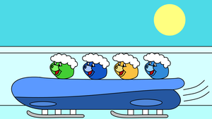 Care Bears in a bobsleigh by dev-catscratch