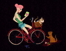 WAC: Bike Kitties and a Green Shirt by KathrynWilkins