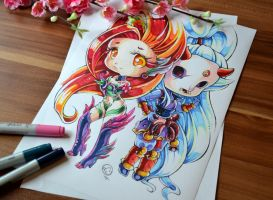 Zyra and Blood Moon Kalista Chibi by Lighane