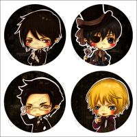 Kuroshitsuji Button Badges by blackeyebags