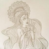 Holy Mage of the Night - sketch preview by Yaraffinity