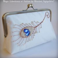 MAGIC PEACOCK FEATHER Clutch by TianaChe