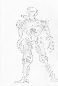 Robot drawing by MusicalMorphine