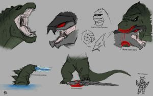 Godzilla 2014 sketches by DesmondBaxter