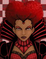 Ebony Queen of Hearts portrait by KiraTheArtist