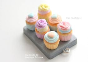 Beautiful miniature pastel cupcakes handmade by LaNostalgie05