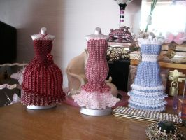 3 Bead Dresses on Dresser by pinkythepink