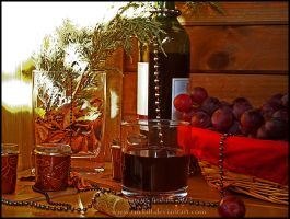 grapes and wine. Uvas y vino by turkill