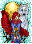 Little Red and Big Wolf marker sketch for sale by Anamated