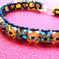 Light Topaz and Olive Bracelet by lulabug