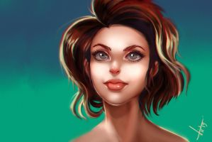 Short Hair Girl, coloring practice. by victter-le-fou