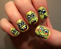 Spongebob Nails by kaylamckay