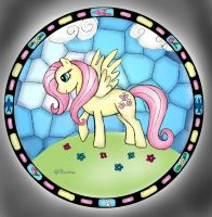 Fluttershy Stained Glass by mcat711