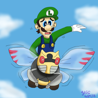 Special Request Luigi riding on Ninjask by YoshiGamerGirl