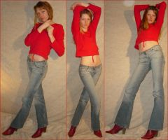 Danielle 3 Standing Red Poses by FantasyStock