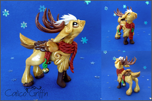Christmas Reingriff - polymer clay by CalicoGriffin