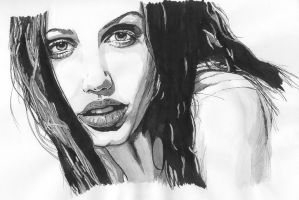 Angelina Jolie inked by moonmaddnessl7