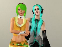 Gumi and Miku Sims 3 Style by dogzrule2468