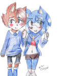 Sonic and Sally genderbend by Hollsterweelskitty