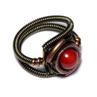 Steampunk red coral Ring by CatherinetteRings