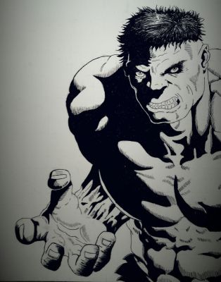 Hulk ink drawing by dubz002