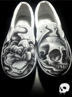 Skull and Rose Shoes by P-O-R-K-Y