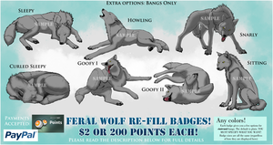 Custom Feral Wolf Re-fill Badges (OPEN) by sugarpoultry