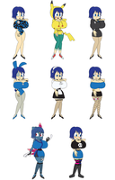 all Ruiko's outfits by redryan2009
